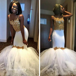Taille Jupe Noire Pas Cher-2017 Gold Lace Mermaid White Black Girl Robe de bal Nouvelle arrivée Sexy With Tulle Puffy Skirt sans manches Party Gown Custom Made Plus Size