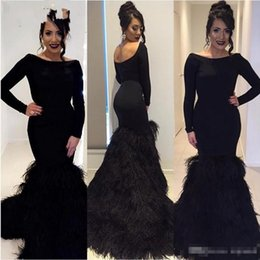Barato Vestidos De Noite Feitos De Penas-2017 Black Feather Vestidos de noite formal com mangas compridas Sexy Open Back Sweep Train Prom Festa Partyant Gowns Custom Made