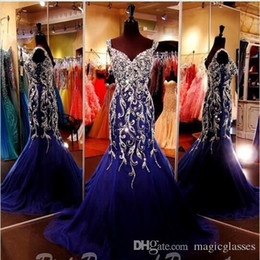 $enCountryForm.capitalKeyWord Canada - Sparkly Royal Blue Crystal Rhinestones Mermaid Evening Dresses 2017 Straps Sweetheart Tulle Floor Length Prom Formal Party Pageant Dresses