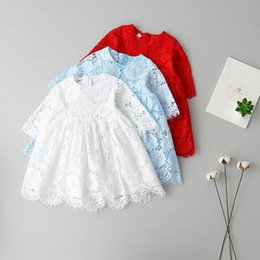 Discount white jacquard - Girls princess dress children lace hollow out half sleeve party dress spring new kids round collar lace jacquard falbala