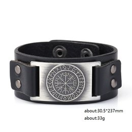 China Unique Design Tailsman Norse Runes Sun Wheel Vegvisir Viking Amulet Scandinavian Charms Jewelry Cuff Leather Bracelet & Bangles Jewelry supplier vikings bracelet suppliers