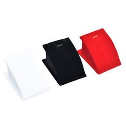 Velvet Pendant UK - Argositment White Red Black Velvet Mini Necklace Pendant Jewelry Display Rack with Hook(10 per pack)