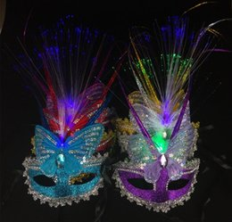 Discount red black paper lanterns - Halloween costume party mask dance mask Mid-Autumn Lantern Festival Bar nightclub luminous feather masks