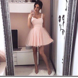 Barato Vestidos Chiques E Chiques-2017 Chic Pink Simple Mini Vestidos de casamento curto A Line Tulle Spaghetti Straps Cheap Party Gowns Cocktail Dresses Club Wears
