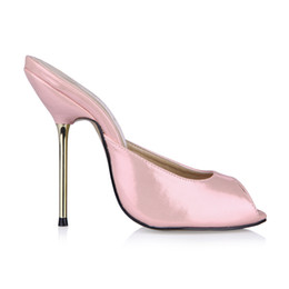 China Pink Real Image Women Sandals Metal Heels Slip On Peep Toe Ladies Party Shoes Summer Style Sandals Cheap Modest Shoes supplier open image lady suppliers