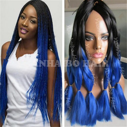 cheap ombre braiding hair Canada - Wholesale Cheap Price 20inch ombre black blue ombre jumbo braid hair 1 jet black synthetic braiding hair for twist box braids shipping