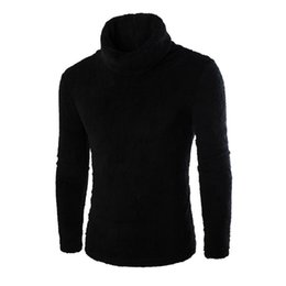 Blouses Sweaters Canada - Wholesale- 2017 New Men's Autumn Winter Warm Fleece Sweaters Fashion Solid Long Sleeve Turtleneck Pullover Top Bottoming Blouse Plus Size