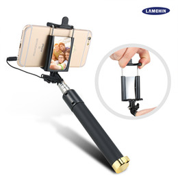 $enCountryForm.capitalKeyWord Canada - Wired Selfie Stick Portrait Battery Free Monopod Extendable Bluetooth Remote Shutter for iOS and Android Smartphones with Package