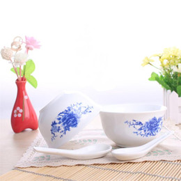 6 inch 4 Pieces Ceramics Dinnerware Set Chinese Blue and White Bowls and Spoon Bong China Porcelain in-glaze Decoration Gift  sc 1 st  DHgate.com : chinese tableware uk - pezcame.com
