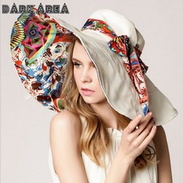 Wholesale- New Fashion Flower Foldable Brimmed Sun Hat For Women Summer Hats  For Women Hat Adjustable Outdoor UV Protection 07e9d4d6442c