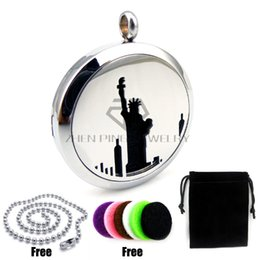 statue liberty necklace 2019 - New Arrival Round Steel the Statue of Liberty 30mm Stainless Steel Essential Oils Diffuser Locket Aromatherapy Locket Pe