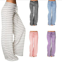 China Women Yoga Sport Striped Loose Wide Leg Trousers Stretch Leggings Long Pants Stripe Flare Pants Loose Bloomers OOA3217 cheap yoga pants long length suppliers