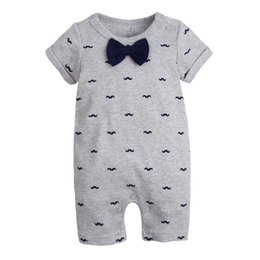 Toddlers Ties online shopping - Baby boys Mustache Jumpsuits Rompers Short Sleeve Short Pants Tie Bow Newborn Infant Toddler Year Birthday Party