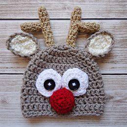 $enCountryForm.capitalKeyWord Canada - Handmade Knit Crochet Rudolph Red Nosed Moose Hat,Baby Boy Girl Christmas Reindeer Hat,Animal Cap,Toddler Photo Prop