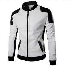 2bad7984ca357e Mens Leather Sleeve Wool Jackets UK - Hot Sales New PU Leather Jacket Men  Black Red