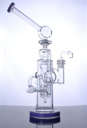 double perc recycler Australia - Heady Cyclone Glass Bong Purple Water Pipes Double Recycler Beaker Build A Bong with Unique Stereo Matrix Perc 14mm joint