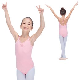 Danse Leotard Rose Pas Cher-Light Pink et plus de couleurs Coton / Lycra Camisole Justaucorps de danse avec bretelles Cross-Back Girls Body