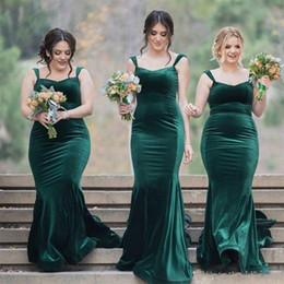 c2d9a6397381 Discount winter velvet wedding dress - 2017 Vintage Dark Green Velvet  Mermaid Bridesmaid Dresses Plus Size