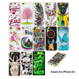 Wholesale apple iphone 5c for sale - Group buy Cases For iPhone C Noctilucent in Dark Lovely Butterfly Flowers Owl Feather Deer Painting