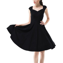 Barato Barato Preto Vestidos Casuais-Hot New 2016 Summer Women Casual Dresses Retro Robe de festa Rockabilly 50s Black Vintage Dress Plus Size Vestidos Z1 barato