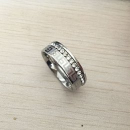 Simple Style gold ringS online shopping - High Quality silver color Simple Style Crystal cz diamond stainless steel Rings for Women greek key men wedding band rings
