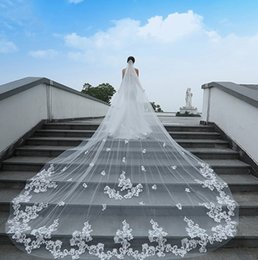 Discount Make Long Cathedral Wedding Veil Applique One Layer Veils Length Tulle Bridal