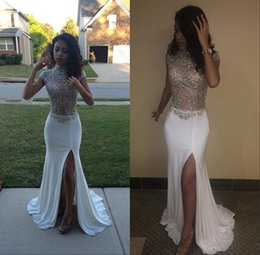 Barato Longo Vestido De Decote Pescoço Alto-2017 White Prom Dresses Mermaid High Neck Front Split Cap Sleeves Sequins Beading Long Black Girl Evening Party Gowns