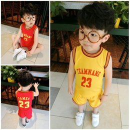 Boys Red Yellow Shirt Canada - 2 Colors Kid Jersey Hot Sale 23 Basketball Jerseys Good Quality Boys Shirts +pants yellow red Embroidery Size 80-120cm Accept Mix orders