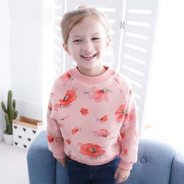 Barato Korean Bonito Roupas Para Crianças-Everweekend Girls Floral Print Tees Cute Baby Pink Bege e cinza Cor Vestuário Lovely Kids Pink Fashion Outono Tops