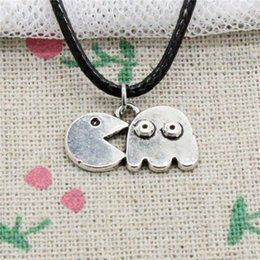Men S Leather Slides Canada - 15pcs New Fashion Antique Silver Charms pac man retro 80's arcade gam 19*11mm Pendant Necklace Black Leather Cord Hand made Jewlery Necklace