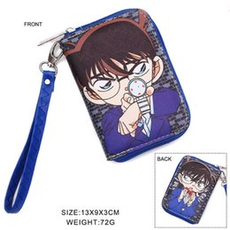 zero coin UK - Detective Conan Anime Short Wallet Colorful Zipper Coin Purse Case Closed Cartoon Money Bag Card Holder Zero Bag
