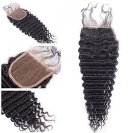 $enCountryForm.capitalKeyWord Australia - Brazilian Deep Wave Lace Closure Human Hair Bleached Knots Unprocessed Virgin Hair Swiss Lace Top Closure With Baby Hair 8-20 inch