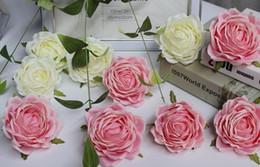 roses cream flower 2019 - Silk Cream hot Pink Roses Flower Head, Artificial Flowers Heads for Wedding Flowers discount roses cream flower