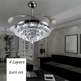 LED Crystal Chandelier Fan Lights Invisible Living Room Bedroom Restaurant Modern Ceiling 42 Inch With Remote Control