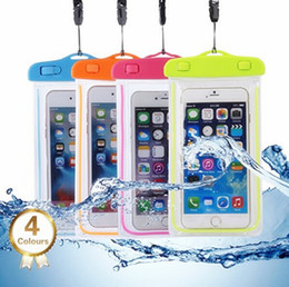 swim necklaces Canada - Luminous Waterproof Case Cover Swimming Dry Bag with Necklace Lanyard Touch Screen for iphone 7 7plus 6S