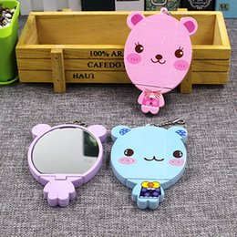 mirror comb set wholesale Canada - Cute cartoon animal comb + mirror set Makeup Mirrors portable pocket cosmetic mirror FreeShipping 4 colors free shipping