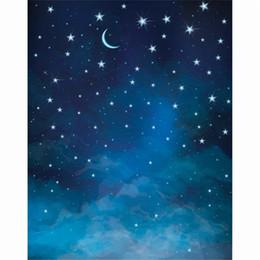 photography backdrops night 2019 - Crescent Moon Blue Night Sky Kids Photo Backdrops Vinyl Glitter Stars Children Photography Background Baby Newborn Photo