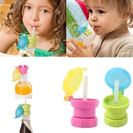 Wholesale Water Bottles For Kids Canada - Portable Spill Proof Juice Soda Water Bottle Twist Cover Cap With straw Safe Drink Straw Sippy Cap Feeding for Kids Children