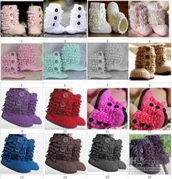 $enCountryForm.capitalKeyWord Canada - Crochet Baby Boys Girls First Walkers Snow Booties Newborn Infant Toddler Prewalker Shoes Loops Design Fringed Button Faux Fur Cotton Yarn