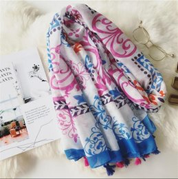 Purple Cotton Scarf NZ - Artistic spring and autumn fresh women cotton scarf national style summer travel sunscreen Shawl Scarf