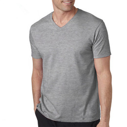 Barato Camiseta V Colar Para Homem-T Shirt Men V Neck Collar Tshirt Mens Short Sleeve Shirts Casual Cotton Tee Tops T-shirt Vestuário