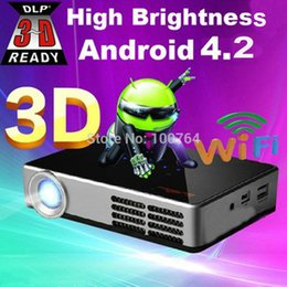 Proyector Wifi Australia - Wholesale-2D to 3D mini short throw DLP portable projector full hd Wifi Android 4.2.2 home theater micro pocket pico led beamer proyector