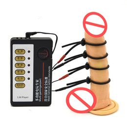 Discount bdsm electrodes Male Electro Shock 4Pcs Electric Shock Penis Rings Enhancement Electro Penis Extensions Massager Fetish Bondage BDSM Sex