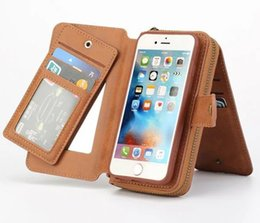 iphone multifunction case 5s Australia - Multifunction Retro Detachable Wallet Leather Phone Cover with Card Slots Portable zipper bag for Iphone 5s 6 6s plus 7 7 plus Samsung S7