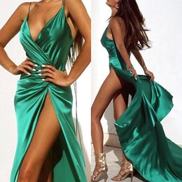 Barato Halter Vestidos De Verde Escuro-2017 Dark Green Sexy Prom Dresses Halter Pescoço Full Length High Side Split Vestidos de noite formal Vestidos de festa Custom Made