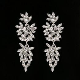 vintage copper earrings dangle 2019 - Big long crystal drop earrings for women vintage flower silver plated bride Earrings wedding Jewelry accessories #E230 c