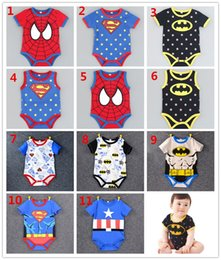 Barato Superman Rompers Baby Boy-DHL Superman Batman Spiderman Cartoon Rompers Bodysuits Baby Boys Girls Bodysuits One Piece Algodão Onesies manga curta sem mangas Onesies