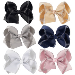 "handmade kids hair clips Canada - 12 Pc Lot "" Hair bow With Silver Silk Bling Hair Clip With Prong For Kid Handmade Hair Bow"