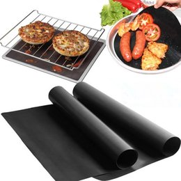 online shopping Barbecue Grilling Liner BBQ Grill Mat Portable Non stick and Reusable Make Grilling Easy CM MM Black Oven Hotplate Mats F2017144