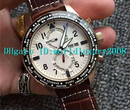 Bezel Quartz Black Canada - Luxury Brand 316L Stainless Steel Black PVD Bezel Pilot Quartz Chronograph Mens Wristwatch Black   White Dial Leather Strap Man Watches